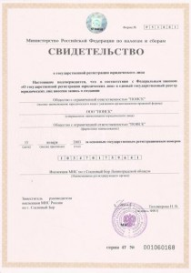 Свидетельство о регистрации 2003